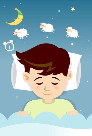 alarm clock: Sleeping Boy with counting sheep