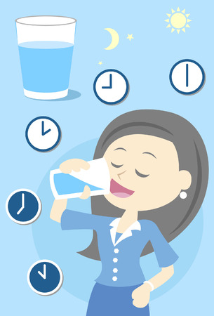 Woman drinking water all day Stock Illustratie