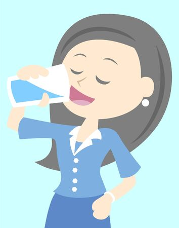 girl drinking water: Business Woman Drinks Water