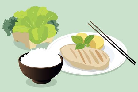 chicken rice: Asian Healthy Lunch Set