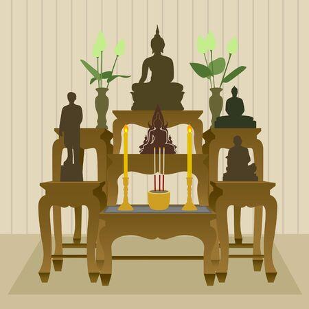 incienso: Altar budista tailandés Juego de mesa