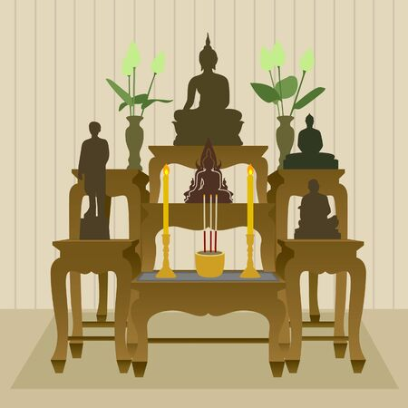 buddhist: Thai Buddhist Altar Table Set