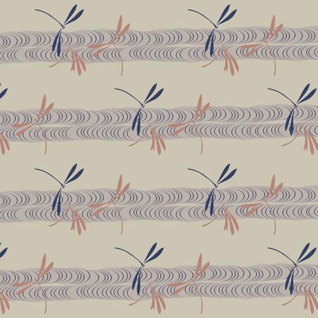 Japanese dragonflies and stream pattern Illustration