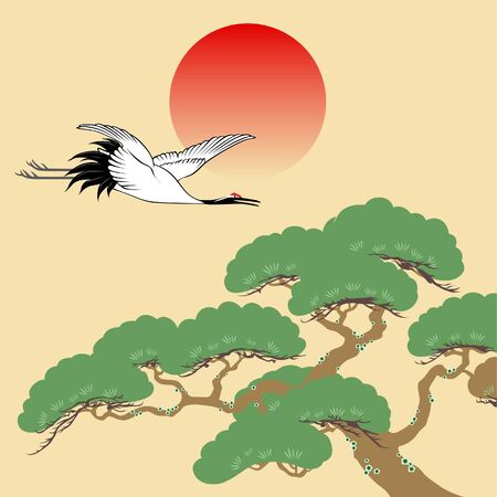 Japanese crane and pine tree with rising sun illustration