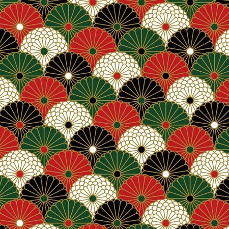 Chrysanthemum pattern in four colors were arranged like wave pattern