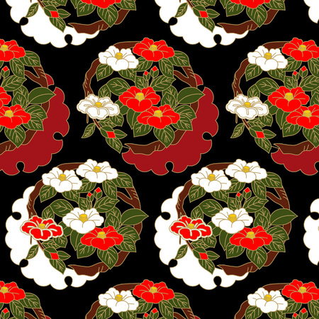 Japanese red and white camellia flowers pattern