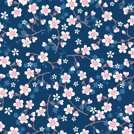seamless: Japanese cherry blossom pattern on blue backgroud