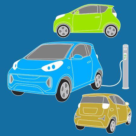 Illustration of small electric cars. Ilustração