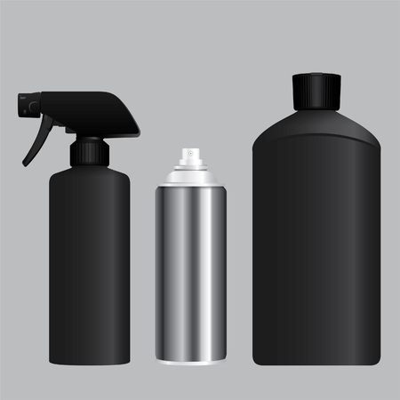 Black foggy spray, aerosol container and bottle 向量圖像