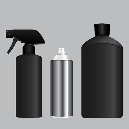 Black foggy spray, aerosol container and bottle Illustration