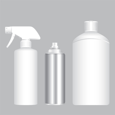 White foggy spray, aerosol container and bottle
