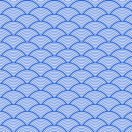 Japanese blue sea wave pattern Illustration