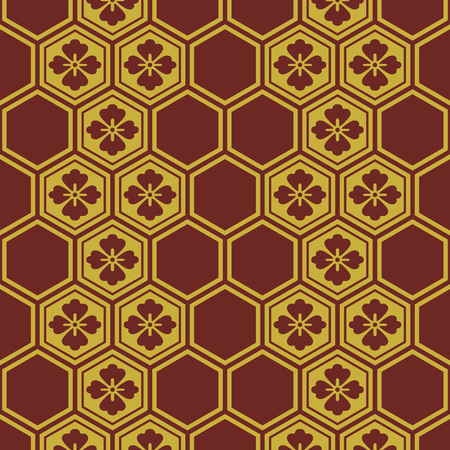 Japanese Burgundy and Gold Flower Pattern