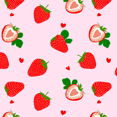 Cute Heart Strawberry Pattern Banque d'images - 110393380