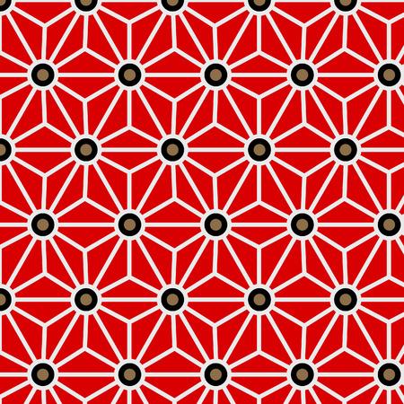 Japanese Red Hexagon Star Pattern