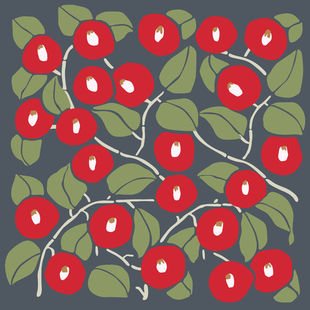 Japanese Red Camelia Pattern