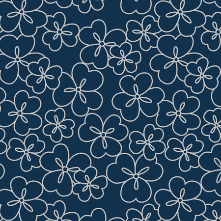Japanese Oxalis Flower Pattern Illustration