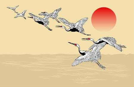 Japanese Crane Flock Pattern