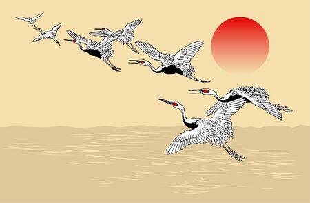 Motif de troupeau de grues japonaises