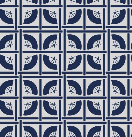 Japanese Geometric Folding Fan Pattern Illustration