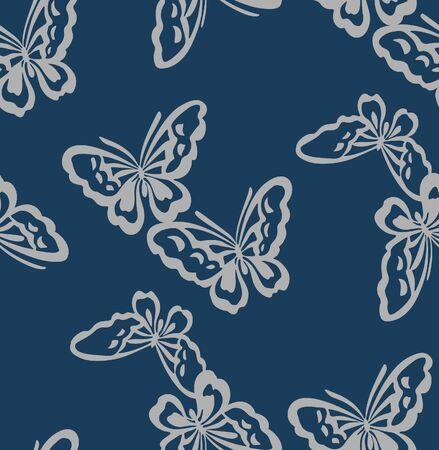 Japanese Indigo Butterfly Pattern 일러스트