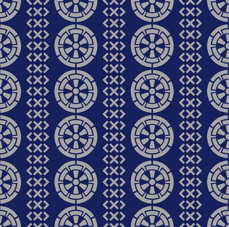 Japanese Wheel Art Seamless Pattern