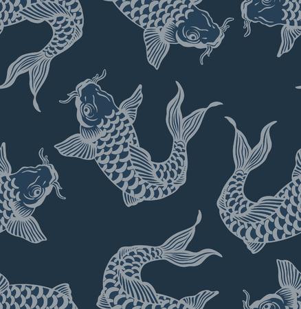 Japanese Koi Carp Art Seamless Pattern