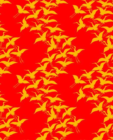 Japanese Golden Crane Art Seamless Pattern
