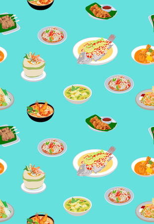 Thai Cute Food Seamless Pattern