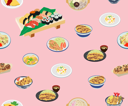 Japanese Cute Food Seamless Pattern