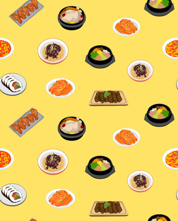 Korean Cute Food Seamless Pattern