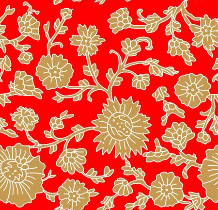 Japanese Red and Gold Flower Seamless Pattern