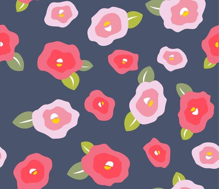 Japanese Camellia Flower Seamless Pattern Illustration