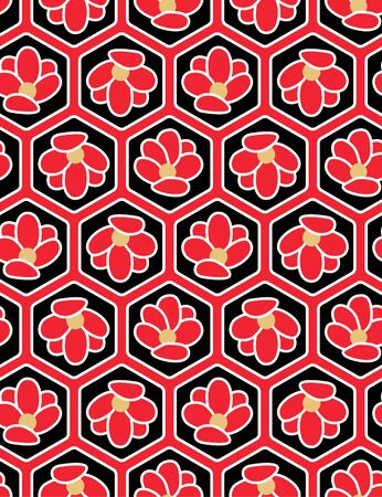 Japanese Red and Black Hexagon Flower Seamless Pattern
