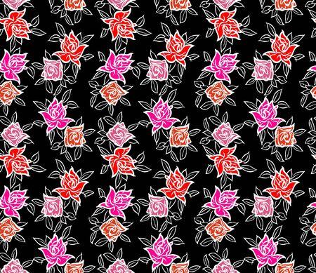 Japanese Rose Flower Seamless Pattern