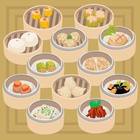 Cute Dimsum Set on Brown Background