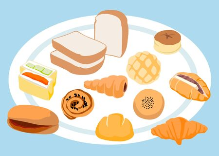 Cute Bread and Bakery on Blue Background Ilustração