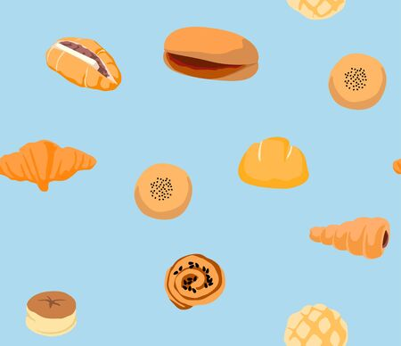 Cute Bread and Bakery Seamless Pattern 写真素材 - 129889900