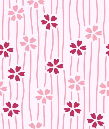 Japanese Small Cherry Blossom Seamless Pattern Illustration