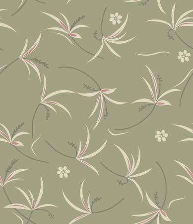 Japanese Grass Flower Flow Seamless Pattern