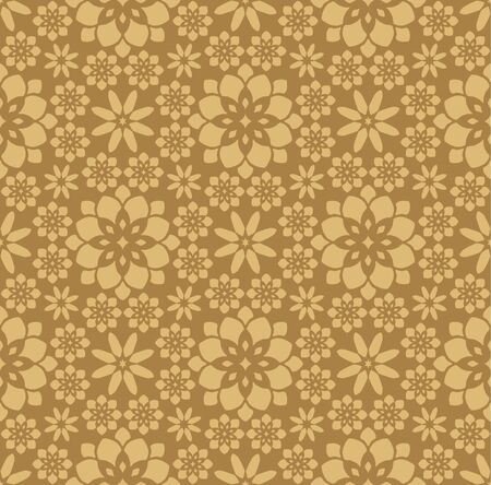 Gold Moroccan Floral Tile Seamless Pattern
