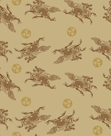 Japanese Kirin Mythical Dragon Horse Seamless Pattern