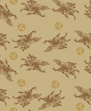 Japanese Kirin Mythical Dragon Horse Seamless Pattern Vektorové ilustrace