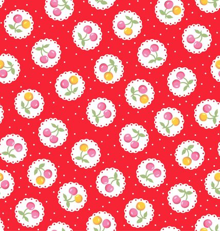 Japanese Red Cherry Doily Seamless Pattern