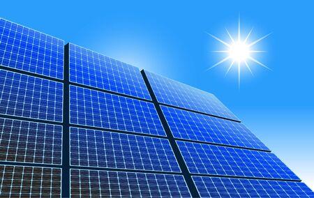 Solar Power Panel, Sun and Blue Sky