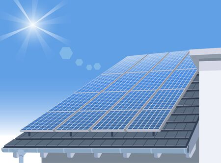 Solar Panel on Home Roof and Blue Sky Illustration