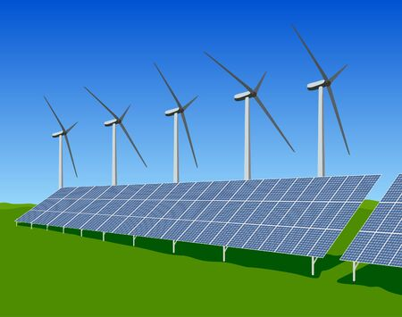Renewable Energy Wind and Solar Power on Blue Sky