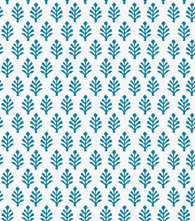 Japanese Indian Blue Floral Seamless Pattern