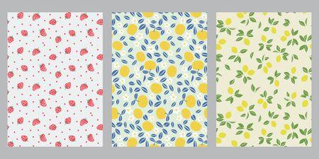 Japanese strawberry, summer orange, spring lemon abstract background  イラスト・ベクター素材