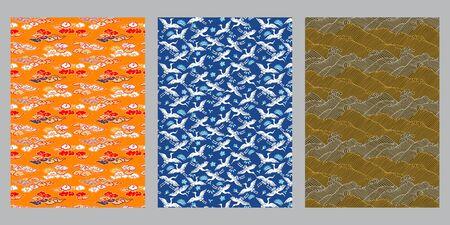 Japanese cloud, heron, ocean wave abstract background 写真素材 - 135860127
